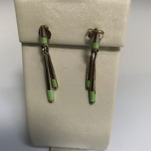 Zuni Signed Sterling Gaspeite Dangle Earrings